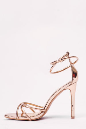 WAGCHIC ROSE GOLD CROSS WRAP BUCKLE SANDALS