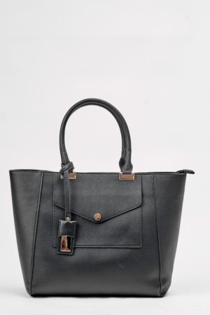 WINGED TOTE BAG WITH FRONT POCKET DETAIL - BLACK