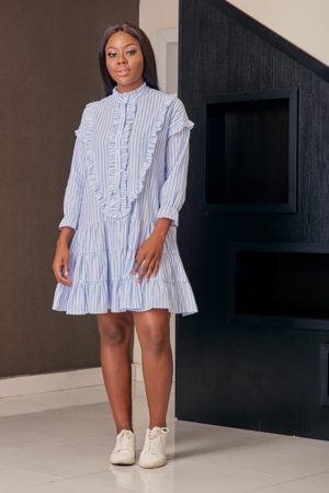 BLUE & WHITE HIGH NECK RUFFLE SHIRT DRESS