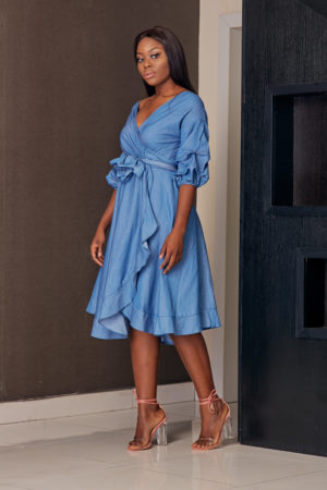 DENIM DEEP HEM WRAP DRESS