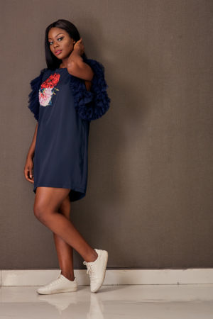 BLUE RUFFLED MESH FLORAL APPLIQUE BOX TUNIC - NAVY