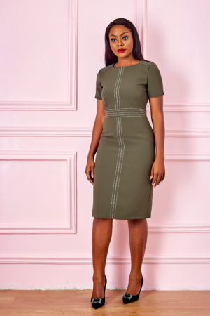 (3 FOR 20K) STITCH DETAIL PENCIL DRESS - KHAKI