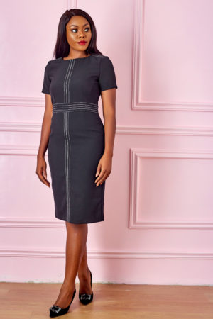 (3 FOR 20K) STITCH DETAIL PENCIL DRESS - BLACK