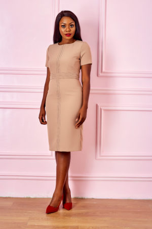 (3 FOR 20K) STITCH DETAIL PENCIL DRESS - NUDE