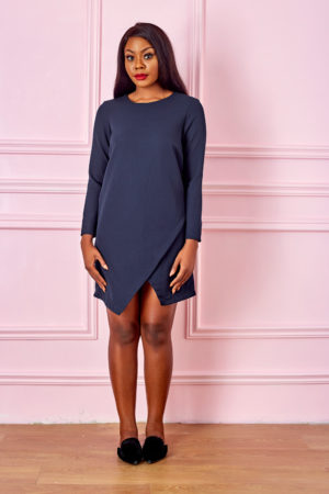 (3 FOR 15K) NAVY ASSYMETRIC SHIFT DRESS