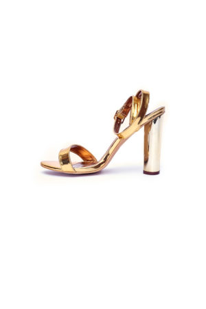 ROUND BLOCK HEEL SANDALS - GOLD
