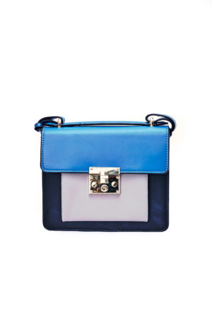 COLORBLOCK PUSH BUTTON BOX BAG -BLACK & BLUE
