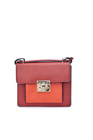 COLORBLOCK PUSH BUTTON BOX BAG -RUST & ORANGE