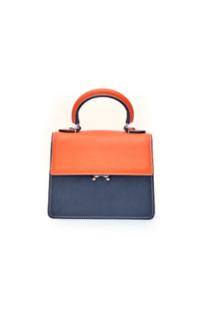 HANDLE PUSH BUTTON BAG - ORANGE & BLACK