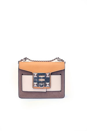 COLORBLOCK STUDDED CLIP CHAIN BAG - CAMEL & MOCHA