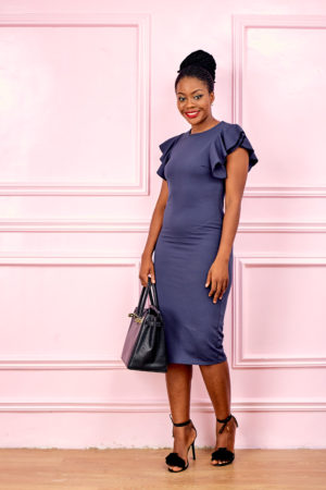 (3 FOR 15K) NAVY FRILL SLEEVE MIDI BODYCON DRESS