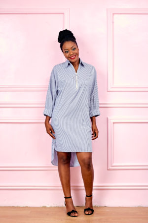 (3 FOR 15K) BLUE STRIPE FRONT ZIPPER PONCHO DRESS