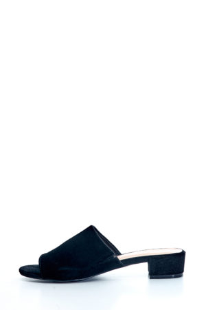 VELVET MINI HEEL MULES - BLACK