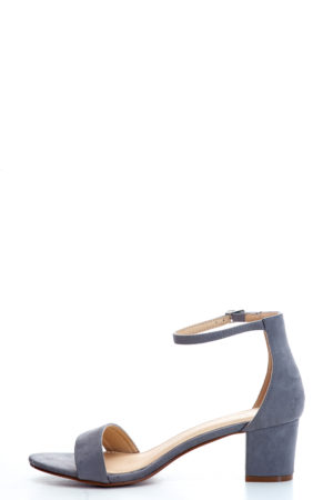 SUEDE MIDI BLOCK HEEL SANDALS - GREY