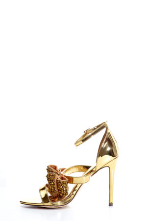 EMBELLISHED BOW DETAIL SANDALS - GOLD