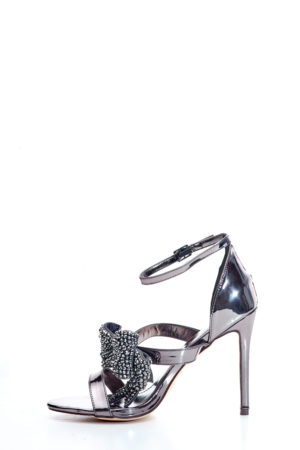 EMBELLISHED BOW DETAIL SANDALS - PEWTER