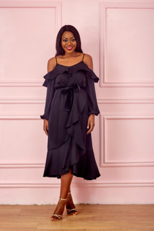 KOTON BLACK THIN STRAP LONGSLEEVE WRAP DRESS