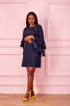 BLACK INNOCENCE FLARE SLEEVE DRESS