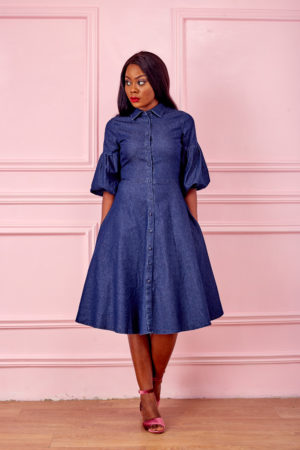 DARK WASH BUBBLE SLEEVE DENIM SHIRT DRESS