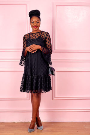 HANNAH SPOTTY LACE PEPLUM HEM SWING DRESS