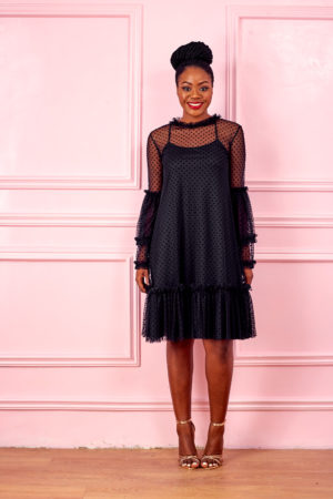 HANNAH BLACK LACE FLARE SLEEVE SWING DRESS