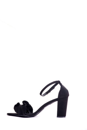 (2 FOR 15K) BLACK RENDER RUFFLE DETAIL BLOCK HEEL SANDALS