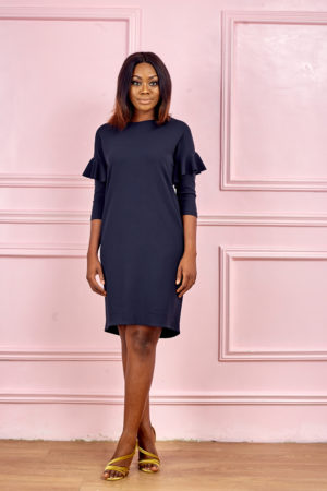 3/4 SLEEVE WITH FRILL INSERT JERSEY TUNIC - NAVY
