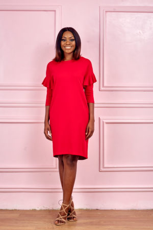 3/4 SLEEVE WITH FRILL INSERT JERSEY TUNIC - RED