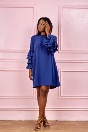 (3 FOR 20K)LAYERED SLEEVE SWING TUNIC - BLUE