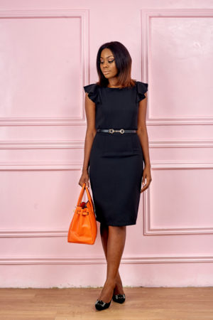 (3 FOR 12K) COLLECTION LONDON FRILL SLEEVE PENCIL DRESS - BLACK