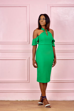 (3 FOR 20K) COLD SHOULDER DRESS WITH RING INSERT - GREEN