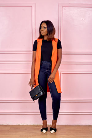 ORANGE LONGLINE DUSTER JACKET