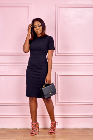 (3 FOR 20K) SEAMED CUT PENCIL DRESS - BLACK