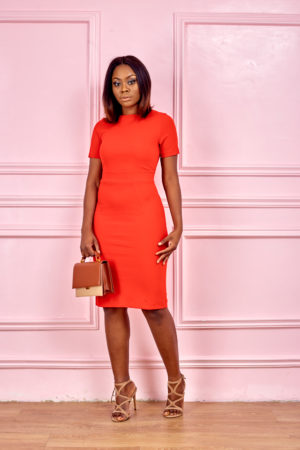 (3 FOR 20K) SEAMED CUT PENCIL DRESS - RED