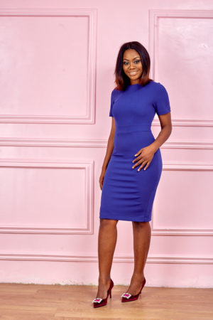 (3 FOR 20K) SEAMED CUT PENCIL DRESS - COBALT BLUE