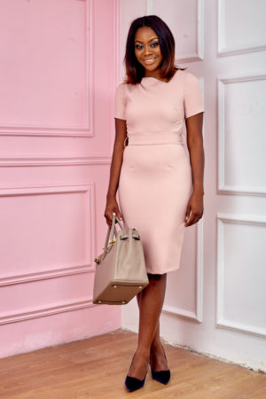 (3 FOR 20K) BLUSH SLANTED NECK BELTED PENCIL DRESS