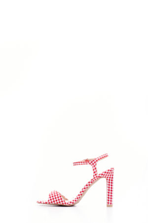 (2 FOR 15K) RED GINGHAM HURST PATENT STRAPPY SANDALS