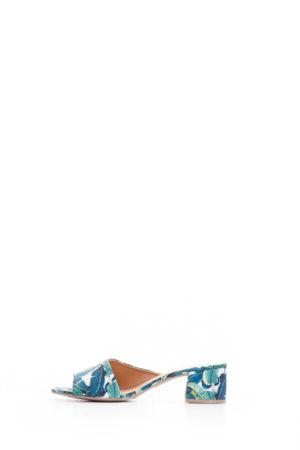 (2 FOR 15K) GREEN FLORAL KATZ BLOCK HEEL MULES