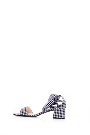 (2 FOR 15K) GINGHAM KATZ STUDDED WRAP AROUND BLOCK HEELS