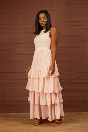 PEACH PLEATED LAYERED MAXI DRESS