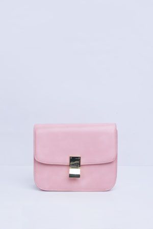 PINK LEATHER CLIP SATCHEL BAG