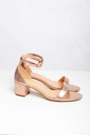 ROSE GOLD MINI BLOCK HEEL SANDALS