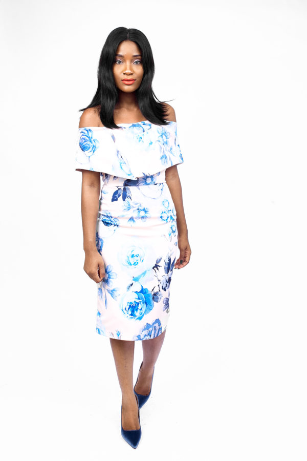 BLUE FLORAL OFF-SHOULDER DRESS