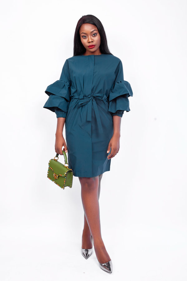 WAGCHIC TRUMPET SLEEVE FRONT ZIPPER DRESS - GREEN
