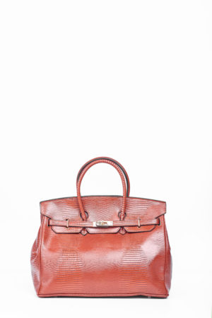 CROCO TWISTLOCK TOTE BAG - BROWN