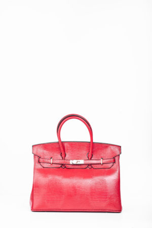 CROCO TWISTLOCK TOTE BAG - RED