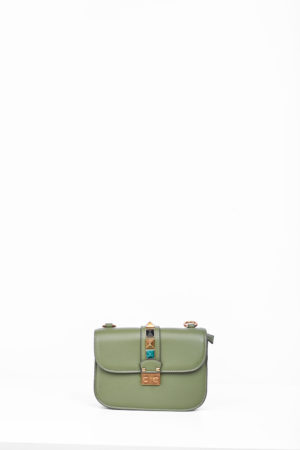PUSH BUTTON STUDDED FLAP MINI BAG - GREEN