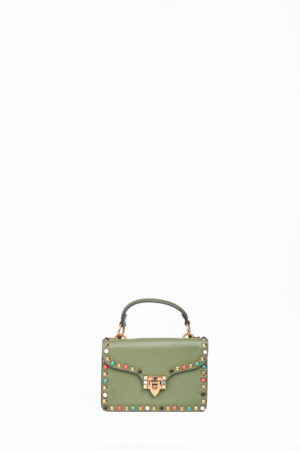 BOX MULTI COLORED STUD CLIP BAG - KHAKI
