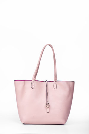 REVERSIBLE SHOPPER BAG - BEIGE & PINK