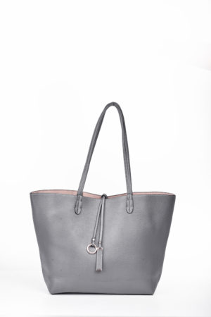 REVERSIBLE SHOPPER BAG - GREY & NUDE